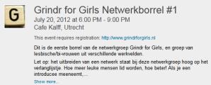 Kom ook naar de eerste Grindr for Girls netwerkborrel